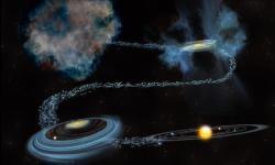 Ilustración del agua en el Sistema Solar a través del tiempo, desde antes del nacimiento del Sol y la creación de los planeta