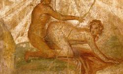 Escena erótica en un fresco de Pompeya. / Wikipedia