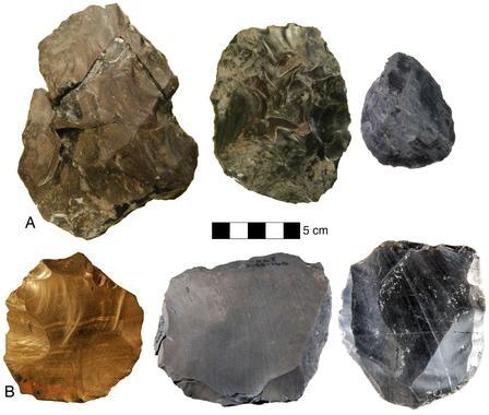 Evolución tecnológica y variabilidad del yacimiento de Nor Geghi 1 (NG1). A) bifaces B) Levallois. / Daniel Adler