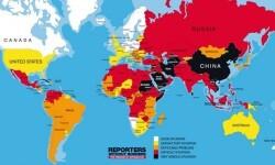 Mapa elaborado por RSF (Credito Reporteros Sin Fronteras)