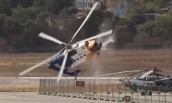 Helicóptero se estrella e incendia en aeropuerto