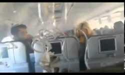 Interior de un avión durante aterrizaje forzoso