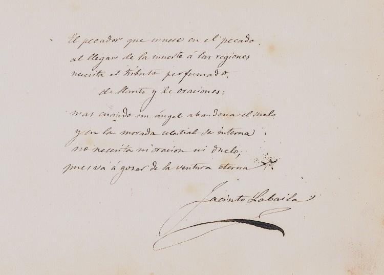 A Emilia. Poesía de Jacinto Labaila. Ca. 1860. A. P. R. S.