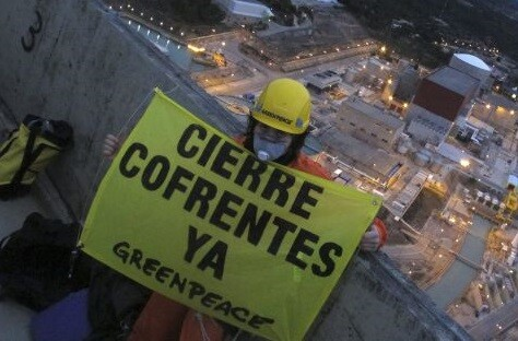 Acción de protesta realizada en Cofrentes (Foto-Greenpeace)