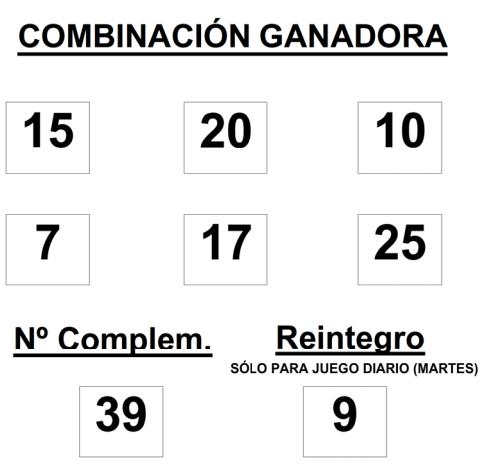 COMBINACIÓN GANADORA DEL SORTEO DE BONOLOTO DEL 29 del 12 2014