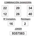 COMBINACIÓN GANADORA DEL SORTEO DE LOTERÍA PRIMITIVA DE FECHA 20 DE DICIEMBRE DE 2014.