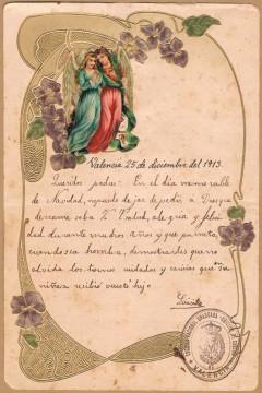 Felicitación de Navidad. València, 1913. A.P.R.S.