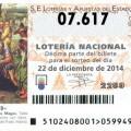 Listado de la Loteria de Navidad Primer cuarto premio vendido en Valencia y Manises 07617