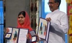 Malala Yousafzai y Satyarthi Kailash en un momento del acto. (Foto-Agencias)