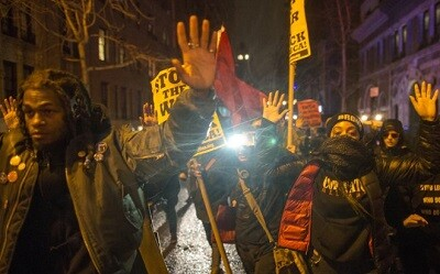 Manifestantes durante la jornada de protestas el pasado sábado en Nueva York. (Foto-AFP)
