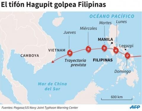 Mapa del paso del tifón por Filipiìnas facilitado por la Agencia AFP.