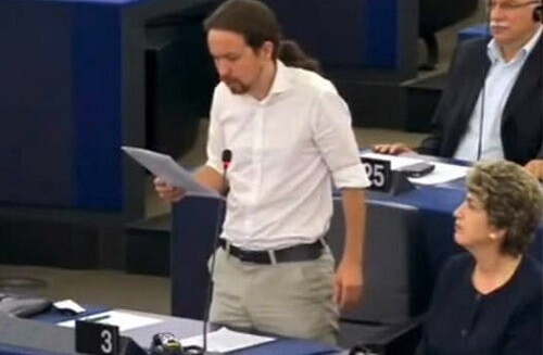 Pablo Iglesias durante una de sus intervenciones en el Parlamento Europeo. (Foto-Agencias)