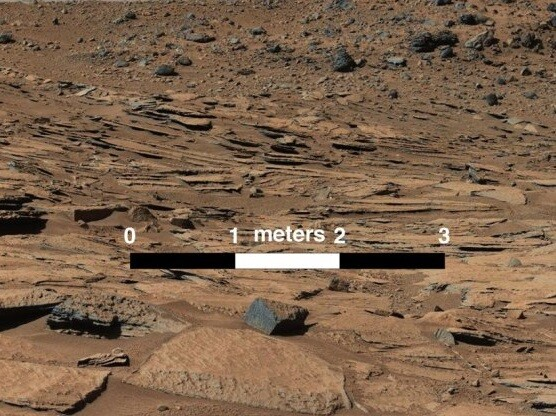 Posible sedimento de paso de agua por Marte (Foto-AFP)