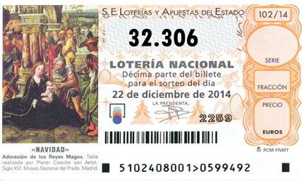 QUINTO PREMIO del Sorteo de la lotería de Navidad para el número 32.306
