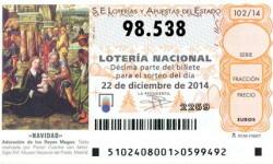 QUINTO PREMIO del Sorteo de la lotería de Navidad para el número 98.538