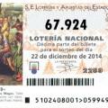 Quinto premio para el número 67.924 de la loteria de Navidad, Administraciones premiadas
