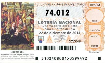 Resultado de la loteria de Navidad QUINTO PREMIO del Sorteo de la lotería de Navidad para el número  74.012