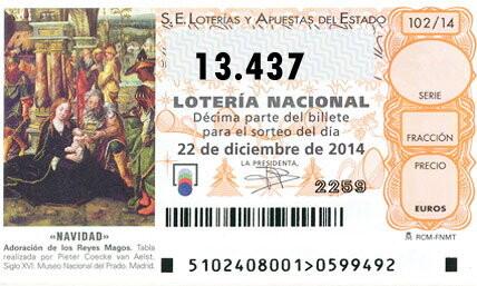 primer premio para el número 13.437 el gordo de la loteria de Navidad, Administraciones premiadas