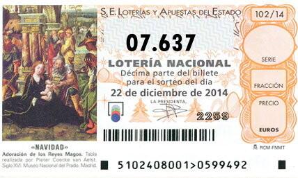 tercer premio para el número 07.637   el gordo de la loteria de Navidad, Administraciones premiadas
