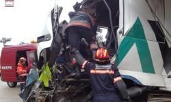 Accidente de dos camiones en carretera Morella-Zorita