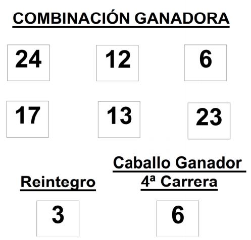COMBINACIÓN GANADORA DE LA APUESTA HÍPICA LOTOTURF DE FECHA 25-1-2015