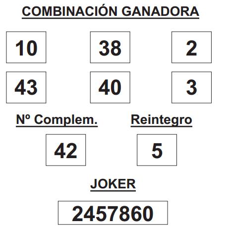 COMBINACIÓN GANADORA DE LOTERÍA PRIMITIVA DE FECHA 8 DE ENERO DE 2015