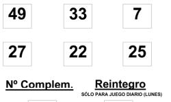 COMBINACIÓN GANADORA DEL SORTEO DE BONOLOTO DEL LUNES 26 DE ENERO DE 2015