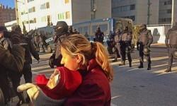 Gran presencia policial en la zona del deshalojo.