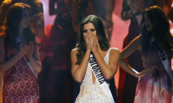 Vega reacts just before being crowned the winner at the 63rd Annual Miss Universe Pageant in Miami