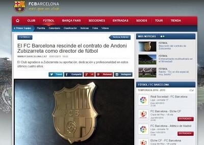 Web del Barcelona que anuncia la marcha de Zubizarreta.