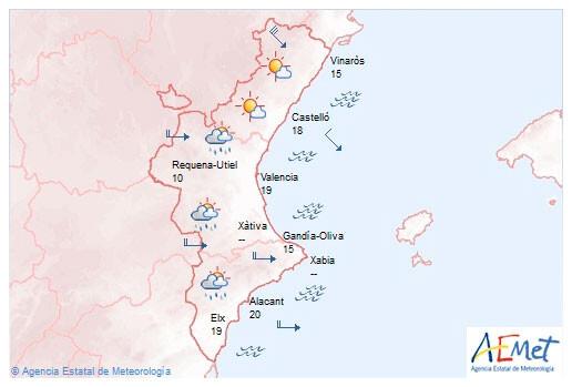 Pronóstico y alertas de la AEMET para la Comunitat Valenciana hoy sábado día 31 de enero de 2015.