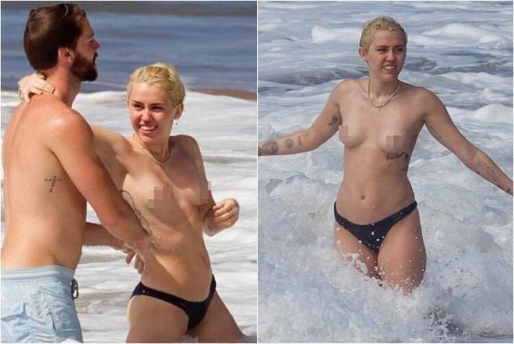 Cyrus nada topless junto a su novio
