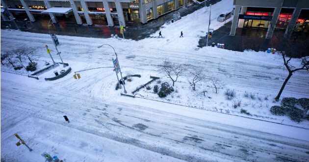 Las calles de Nueva York, nevadas.