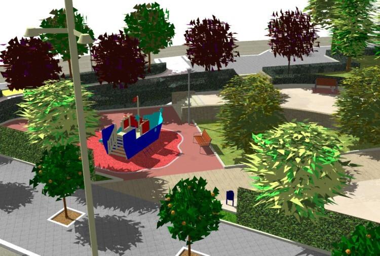Futuro jardín de Avenida Constitución - C/ Alcudia de Crespins. figuración 3D.