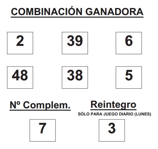 COMBINACIÓN GANADORA DE BONO LOTO DE FECHA 23 DE FEBRERO DE 2015