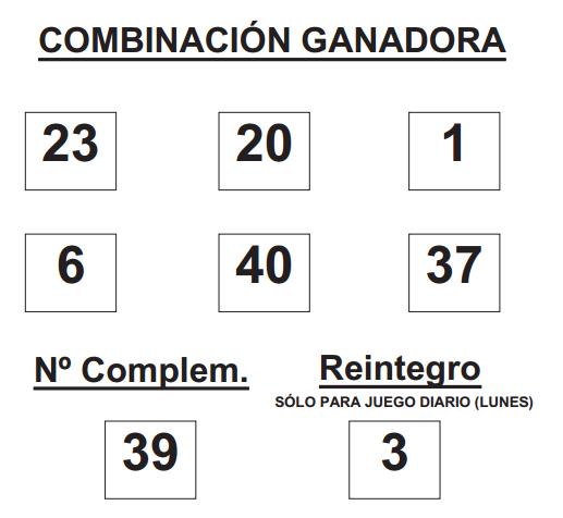 COMBINACIÓN GANADORA DE BONOLOTO DE FECHA 9 DE FEBRERO DE 2015.
