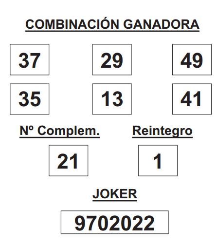 COMBINACIÓN GANADORA DE LOTERÍA PRIMITIVA DE FECHA 12 DE FEBRERO DE 2015