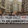 Cabeza de la manifestación de los taxistas valencianos. (Foto-Valencia Noticias)