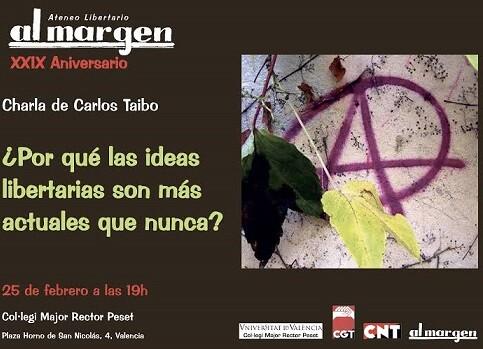 Tarjeta charla de Carlos Taibo.
