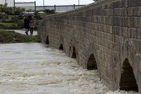 El río Arga, a su paso por la localidad navarra de Burlada ha tenido preocupados a sus vecinos.