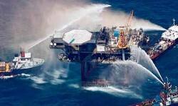 Explosión en una planta marina de petroleo. (Foto-AFP)