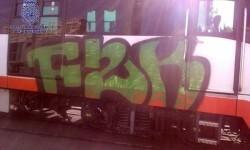 Fotografía de un tren pintado por los grafiteros en Valencia.