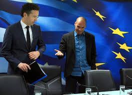 Jeroen Dijsselbloem y Yanis Varufakis en una reunión el pasado mes de enero. (Foto-AFP)