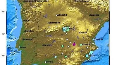 La estrella marca el lugar del epicentro del sismo. (Foto-ING)