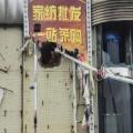 Los bomberos arrojan agua a través de un agujero para sofocar el incendio. (Foto-Agencias)