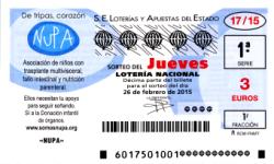 Lotería Nacional, Sorteo del jueves de lotería nacional 26 de febrero de 2015