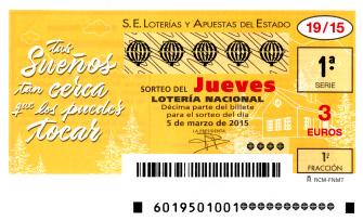 PROXIMO SORTEO DE LOTERíA NACIONAL DEL JUEVES 5 de marzo de 2015