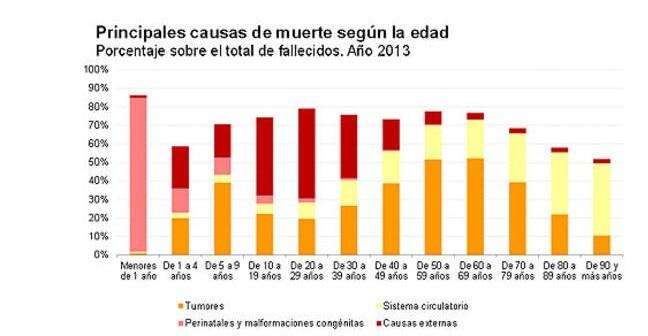 Principales causas de muerte en España en función de la edad. (Foto-INE)