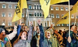 Protesta en Grecia por la decisión del BCE de dar nuevos créditos a Grecia. (Foto-AFP)