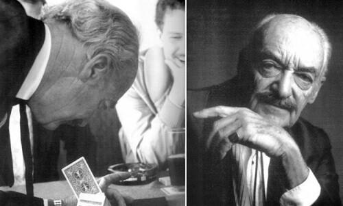 René Lavand en una de sus actuaciones (der.) y en una imagen de promicón (izq.)